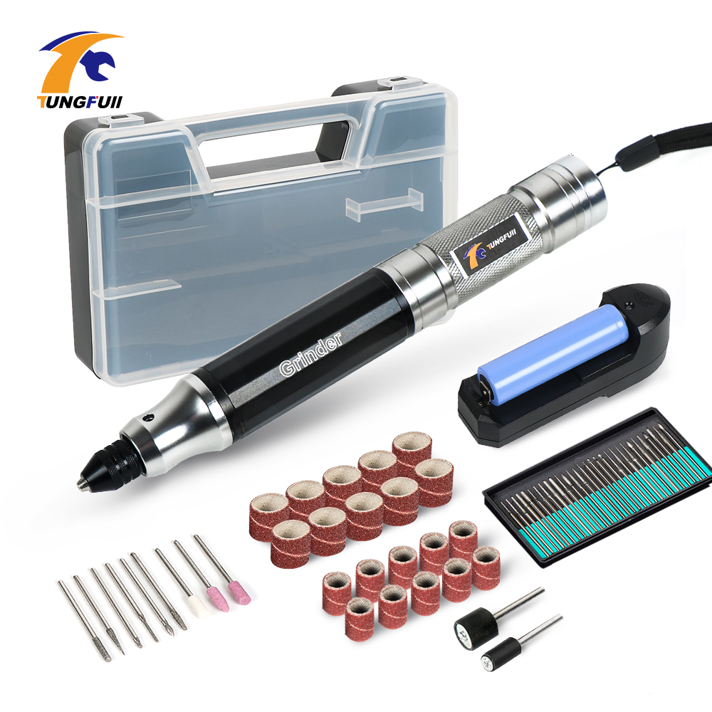 Tungfull Mini Cordless Drill Engraving Pen Electric Drill Grinder With Lithium Battery 3.7V Rechargeable Jade Carving Tool-in Electric Drills from Tools
