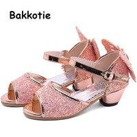 Bakkotie 2019 New Baby Girls Fashion Glitter Butterfly Sandals Summer Princess Rhinestone Pink Sandals Kids Dance Dress Shoes