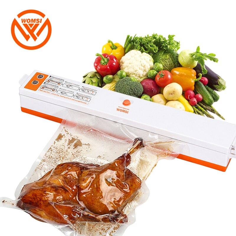 WOMSI 220 V/110 V alimentaire domestique scelleur sous vide Machine d'emballage Film scelleur sous vide emballage comprenant 15 pièces sacs gratuits