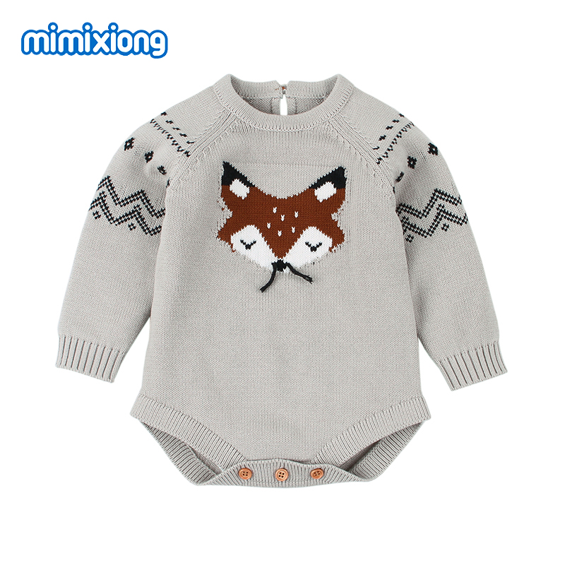 Infant Autumn Body Suits for 0-18M Jumpsuits Fox Knitted Newborn Girls Coveralls Long Sleeve Toddler Infant Onesie Kids Clothing недорго, оригинальная цена
