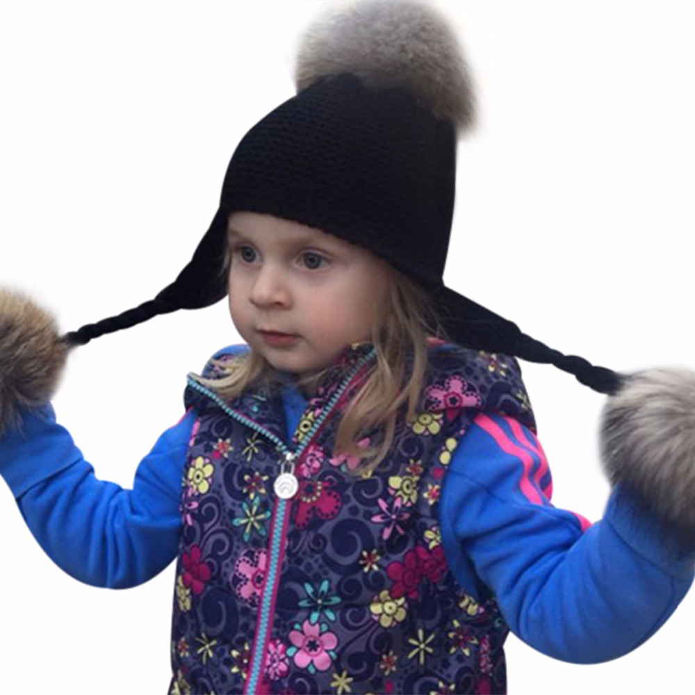 800ec4c3653 Kids Fluffy Pom Pom Hat Winter Real Fur Knitted Beanies For Baby Boys Girls  Children Warm Cap Racoon Fur Pompom Bonnet Gorros