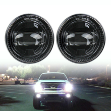 1 Pair Waterproof H11 6000K Black Car Front LED Fog Lights Bumper Driving Fog Lamps For F150 2007-2014 car styling halogen fog lights fog lamps for nissan grand livina 2007 2015 12v 1 set