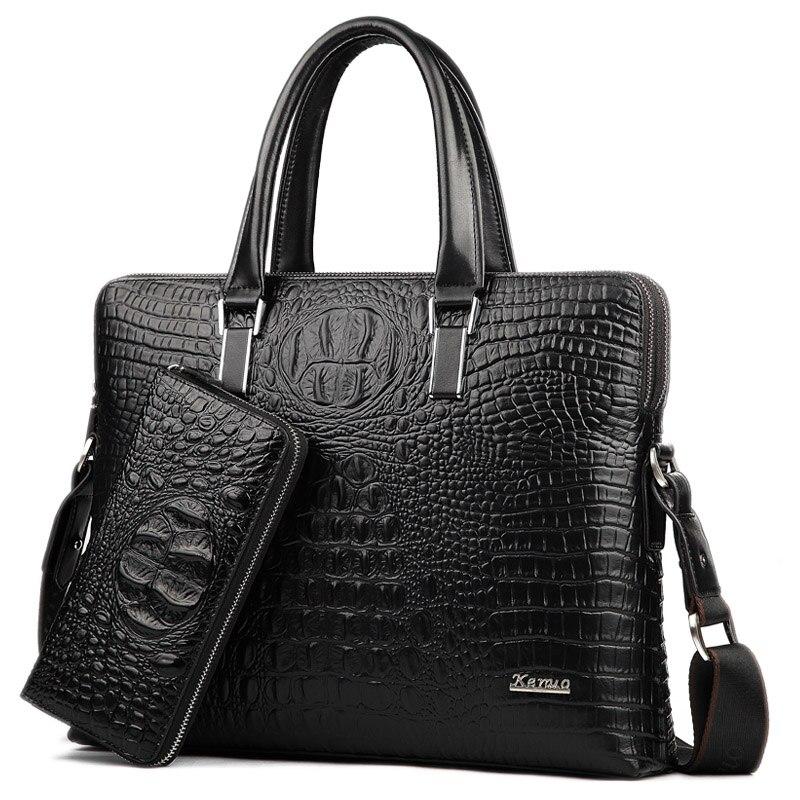 Genuine Cowhide Leather Alligator Men Bag Vintage Real Leather Handbag Brand High Quality Designer 1set Handbag, Wallets as Gift