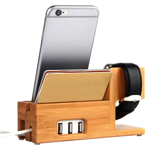 Besegad Bamboo Multi Phone Watch Charging Stand Dock Holder with 3 USB Port for Apple Watch iwatch iPhone 7 7s 6 6s Plus 5 5s
