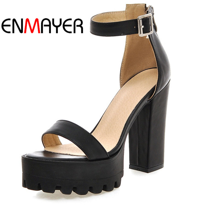 ФОТО ENMAYER Summer Women Sandals Woman Pumps Black White Casual Shoes Gladiator Cover Heel Party Shoes for Women Plus Size 34-42