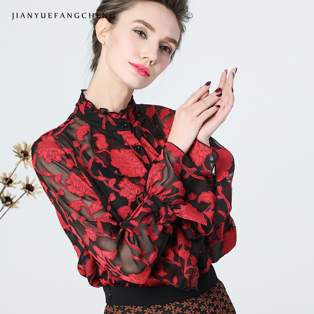 3D Embroidery Red Floral Blouse Women Autumn Top Stand Neck Long Flare Sleeve Tops Vintage Street wear Female Blouses And Tops