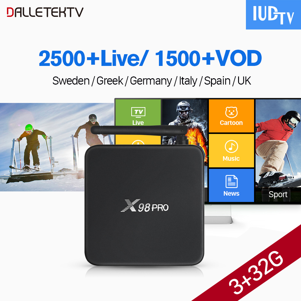 X98 PRO IUDTV Subscription IPTV Box Amlogic S912 Android Tv Box Receiver Android 4k Greece UK Italy Turkey Portugal Spanish IPTV цена