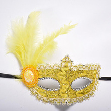 Women Sexy Venetian Lace Feather Flower Eye Masks