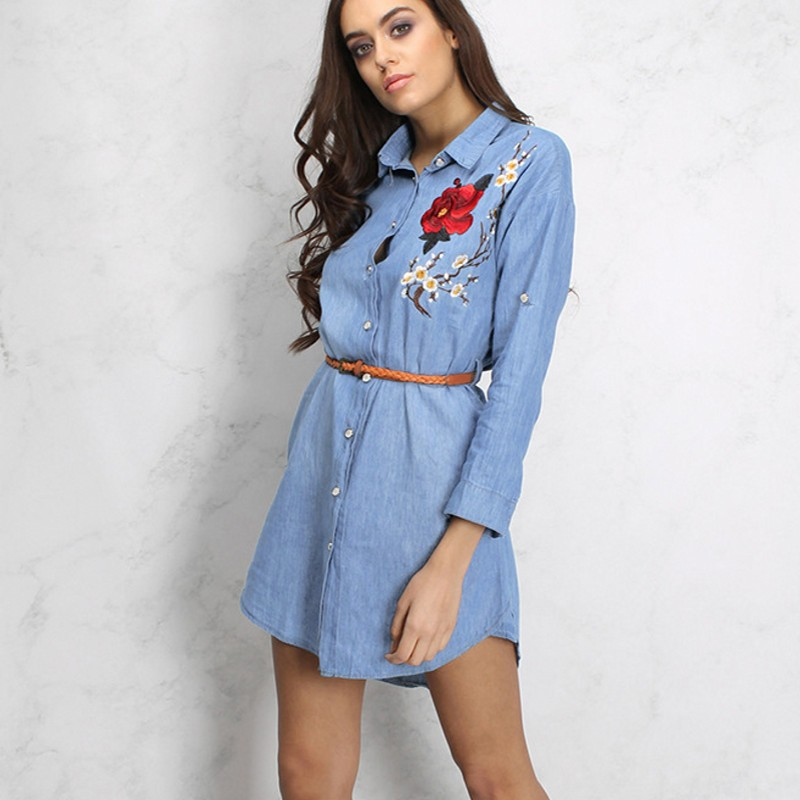 f96abdb9c193 Luxury High End Fashion Long Sleeved Embroidered Casual Shirt Denim Dresses  Woman 2018 New Lapel Jeans Female Vestido Robe Femme-in Dresses from Women s  ...