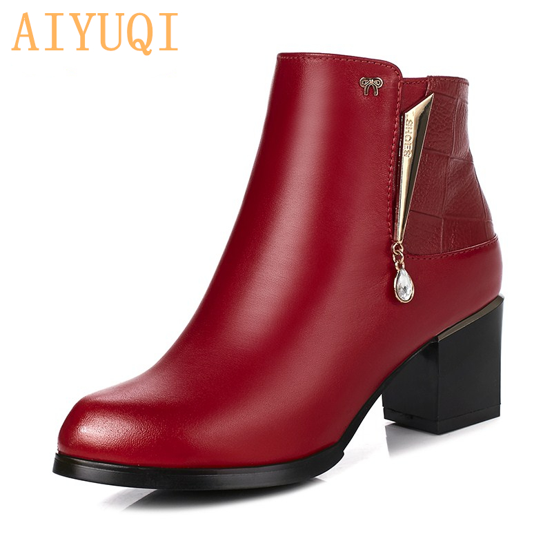 AIYUQI 2019 new winter genuine leather women Martin boots red wedding boots women warm natural wool