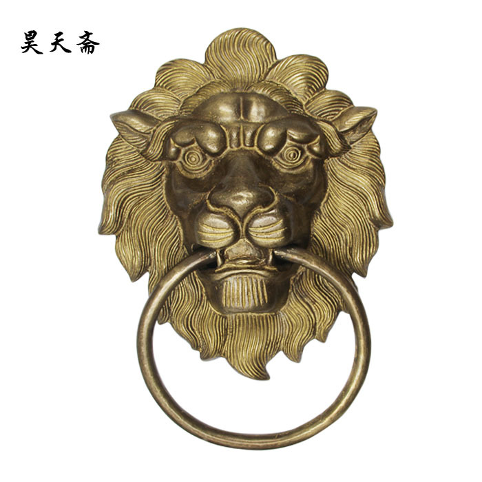 [Haotian vegetarian] new Chinese copper lion head door knocker antique copper door handle first shop HTA-129 chinese antique copper fittings knocker copper handle big lion tiger beast head copper shop first hand ring gate