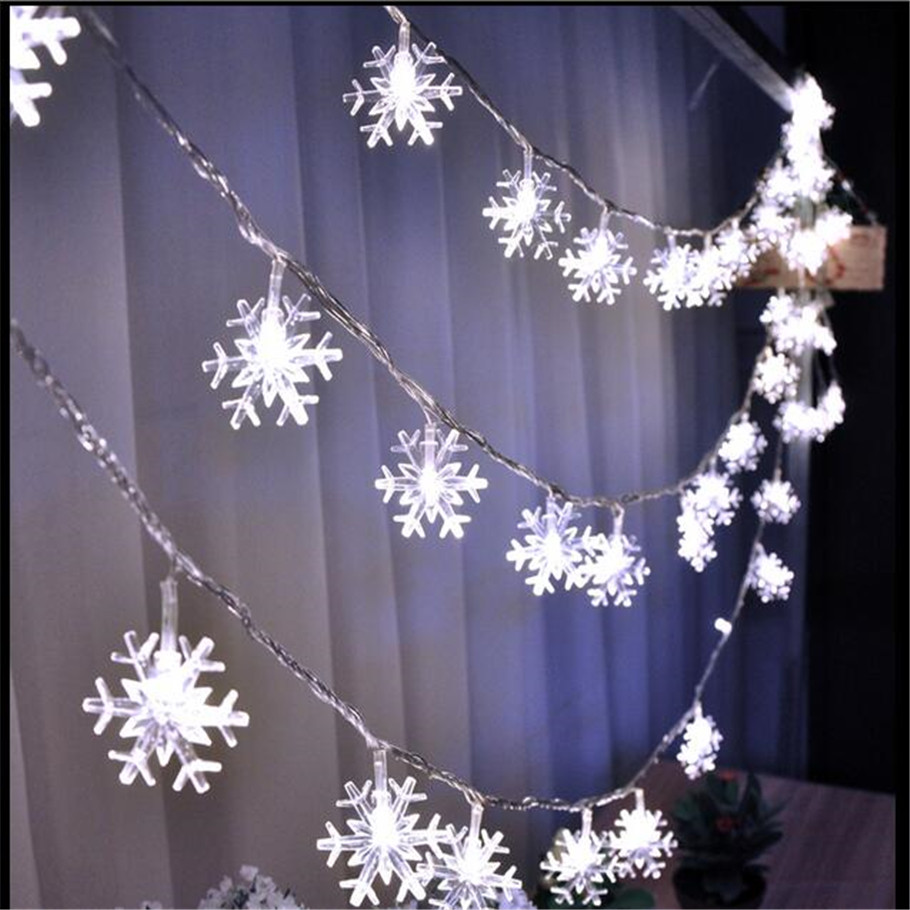 new 5m 28 led snowflake tree string fairy lights christmas xmas party wedding room indoor decoration luci natale eu plug 220v in led string from lights