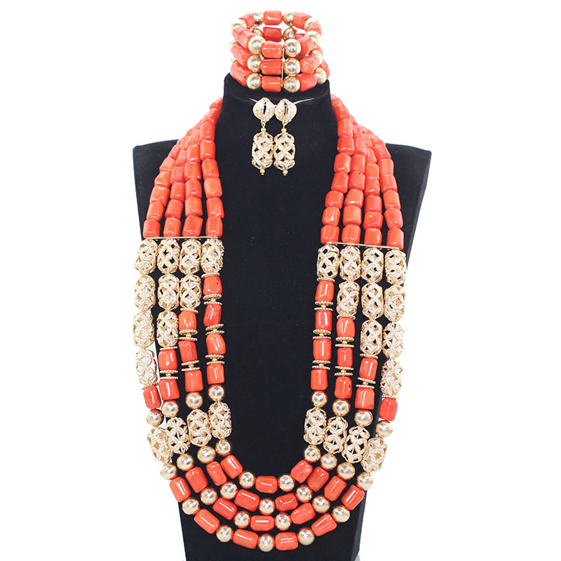 Orange and Gold Beads Balls Necklace Set African Costume Beads Jewelry Set Free Shipping WX038Orange and Gold Beads Balls Necklace Set African Costume Beads Jewelry Set Free Shipping WX038