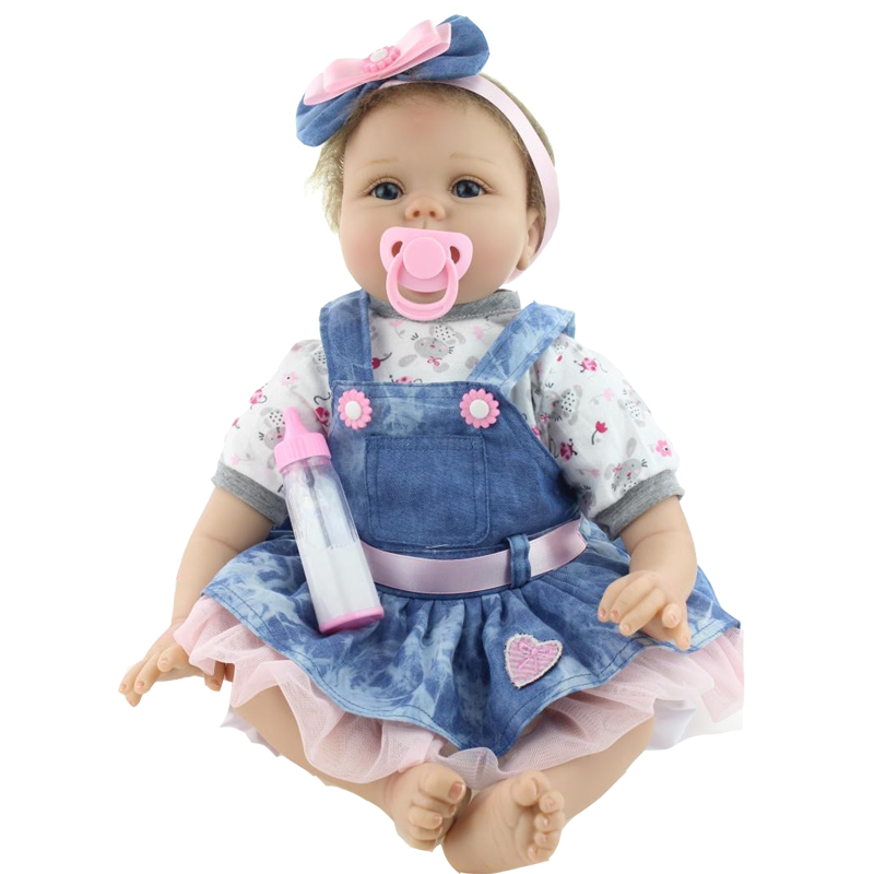 55cm Reborn Baby Doll Real Silicone Doll Kids Toys Girls Bebes De Silicona