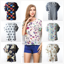Womens plus size Summer short sleeve Colorful Printed Chiffon T shirt for female Batwing Loose