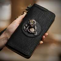 Tibetan mystery golden dragon holding sun mens wallet sharkskin magic magic wheel luxury women wallets and clutch purse