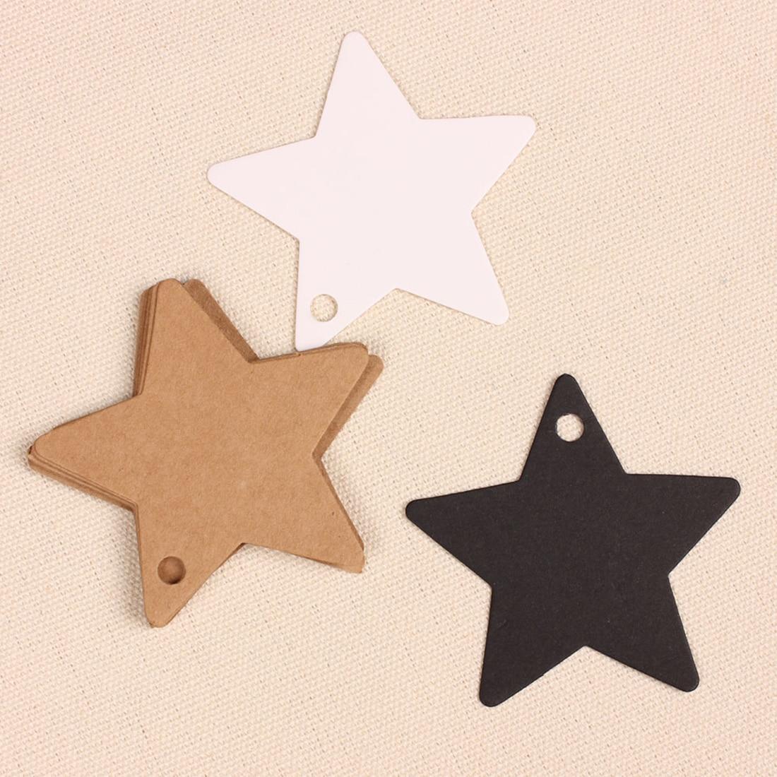 10Pcs/set Star Blank Kraft Paper Gift Tags Wedding Doorplate Scallop Favour Luggage