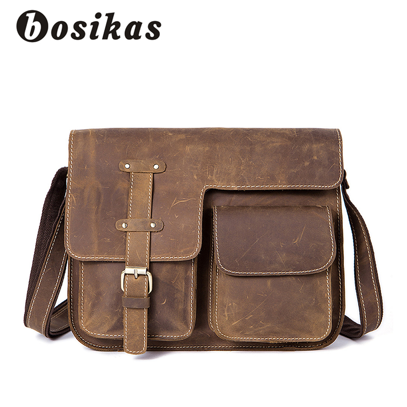 BOSIKAS Vintage Men Bag Briefcases Genuine Leather Crossbody Bags Messenger Totes Leather Handbags Laptop Bag Shoulder Bags Men black genuine leather men bag laptop briefcases handbags men shoulder bag strap crossbody bags messenger bags men leather totes