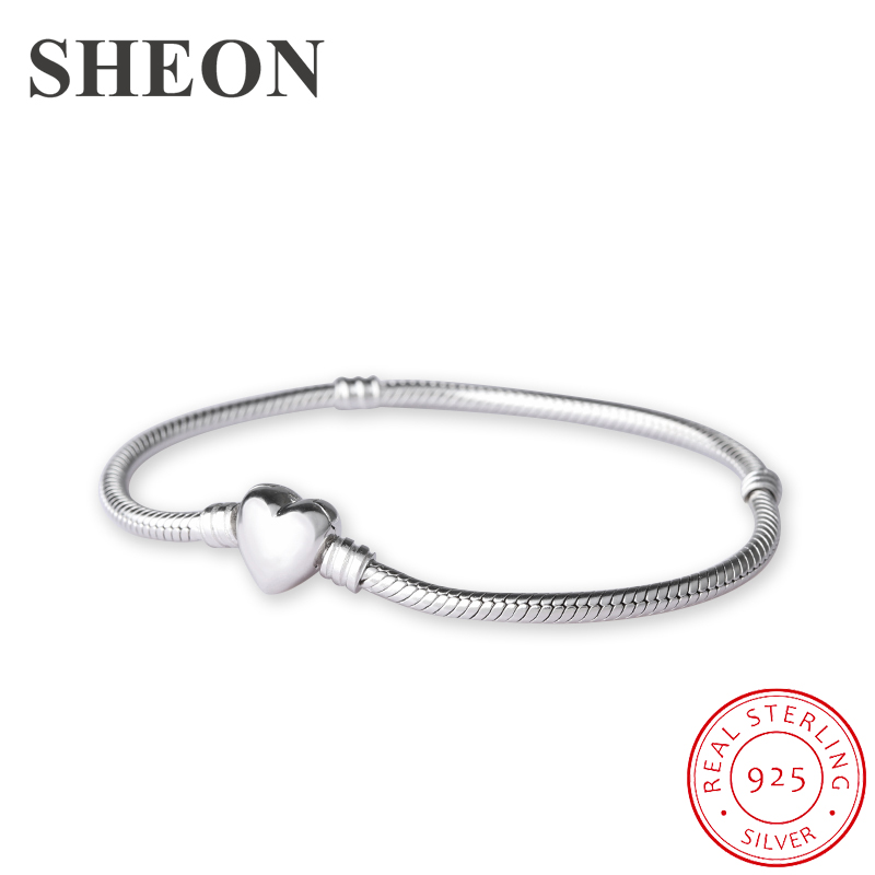 SHEON 925 Sterling Silver Heart Clasp Snake Chain Bracelet Fit Authentic Pandora Charms Beads For Women Fashion DIY JewelrySHEON 925 Sterling Silver Heart Clasp Snake Chain Bracelet Fit Authentic Pandora Charms Beads For Women Fashion DIY Jewelry