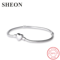 SHEON 925 Sterling Silver Heart Clasp Snake Chain Bracelet Fit Authentic Pandora Charms Beads For Women Fashion DIY Jewelry