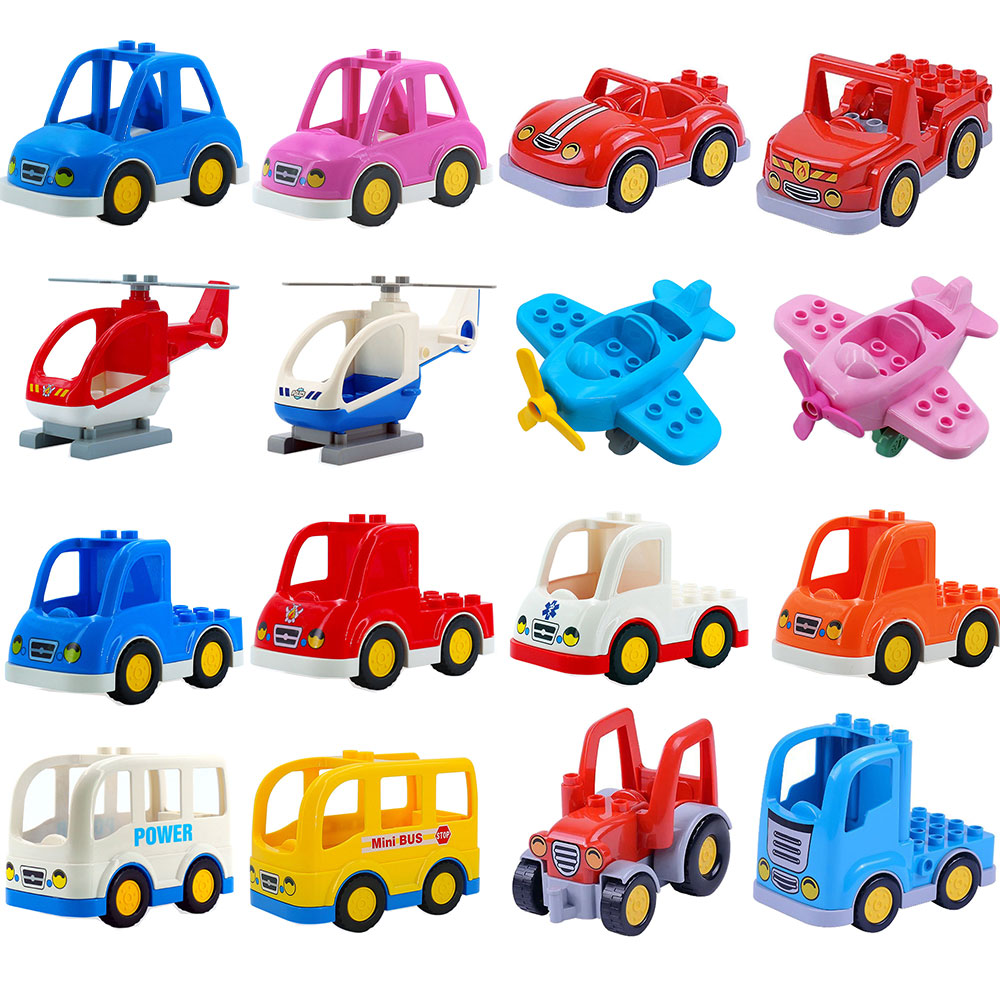 Trailer Car Motorcycle Boat Big Size Building Blocks Bricks Collocation City Vehicle Accessory Set Compatible Legoing Duplo Toys