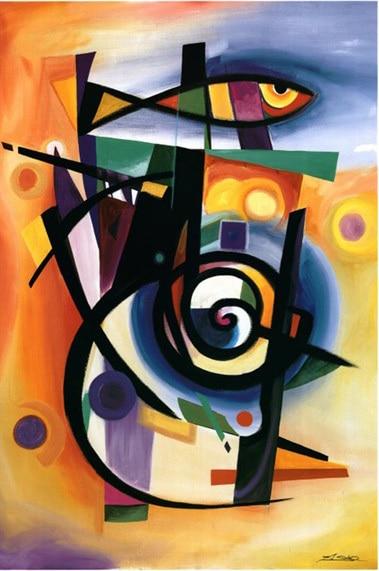 Arte abstracto moderno pescado rayado de la pintura al óleo de la lona de alta calidad pintado a mano decoración del hogar regalo