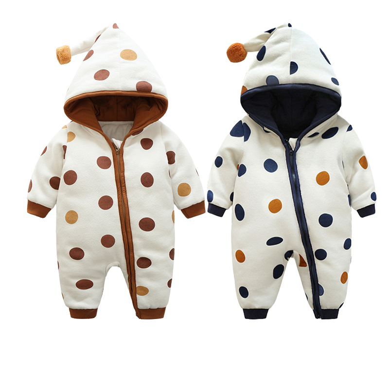 2017 New Fashion Hooded Baby Romper Cotton Polka Dot Printed Baby Clothes Winter Baby Christmas Costumes Infant Baby Clothing
