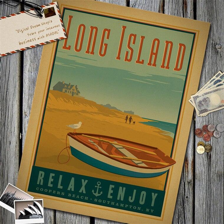 Relax Enjoy Long Island Vintage Poster Kraft Paper Wall Sticker Art Antique Painting Living Room Decor Cafe Bar Pub Home Design