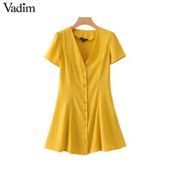 45c35825dd56f women solid V neck mini dress short sleeve A line buttons female