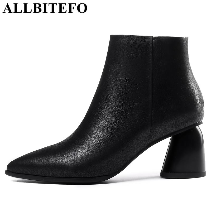 ALLBITEFO thick heel genuine leather pointed toe high heels ankle boots women winter women boots botas femininas girls shoes allbitefo fashion retro genuine leather pointed toe thick heel women boots ruffles high heels party shoes girls boots size 33 43