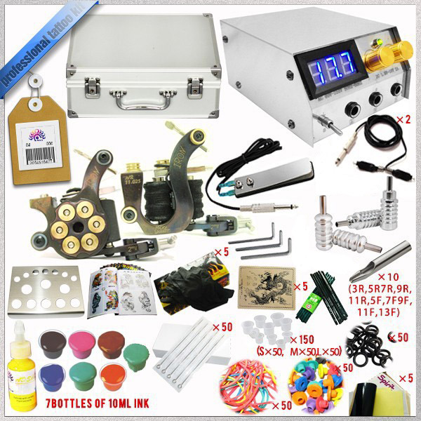 ФОТО Professional Complete tattoo kit set 2 Tattoo Machine Gun Kit Supply tattoo dc power supply  and 14pcs tattoo ink 5ml