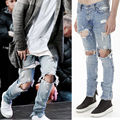 NEW Arrivals Fashion Men Slim Skinny Jeans Runway Straight Denim Pants Destroyed Ripped Trousers