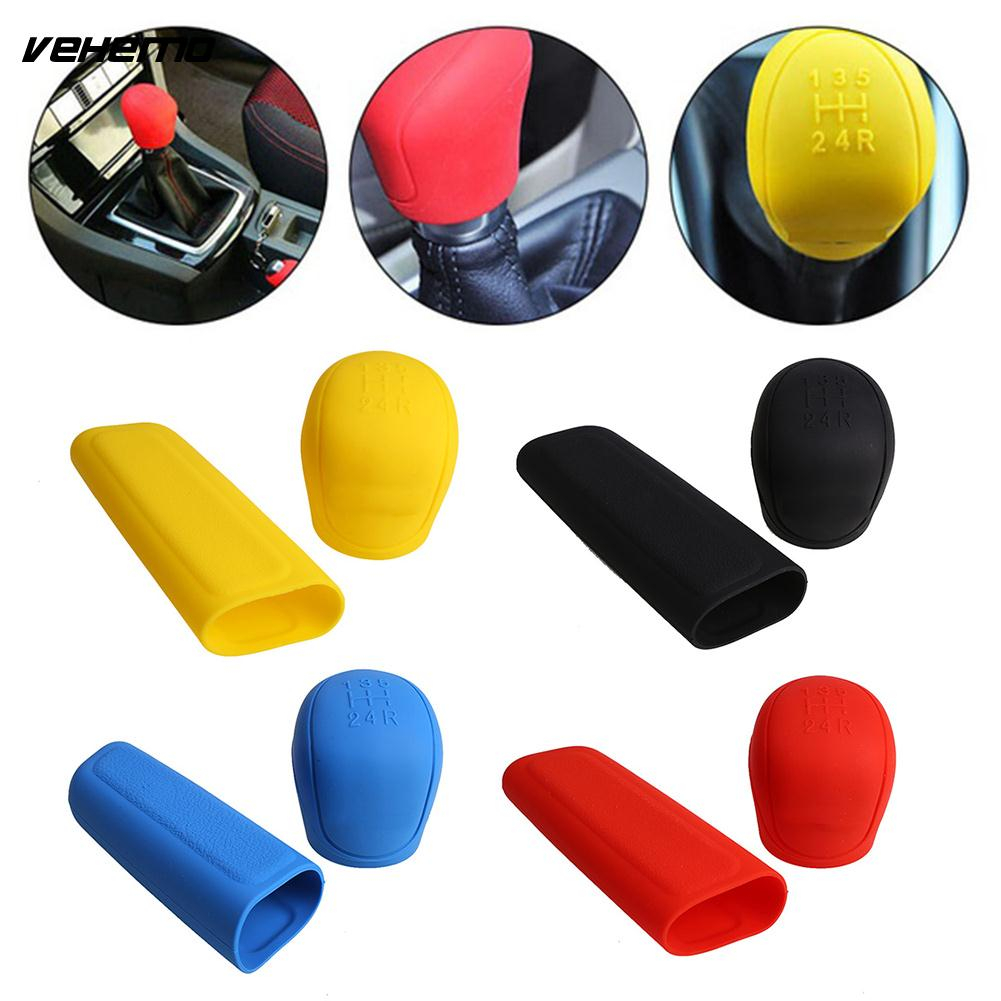 Vehemo Silicone Car Stalls Cover Handbrake Cover Interior Accessories Durable Universal Decoration