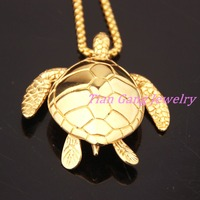 Fashion Gold Silver Sea Turtle 316L Stainless Steel For Men Women Pendant Necklace Animal Suspension Jewelry