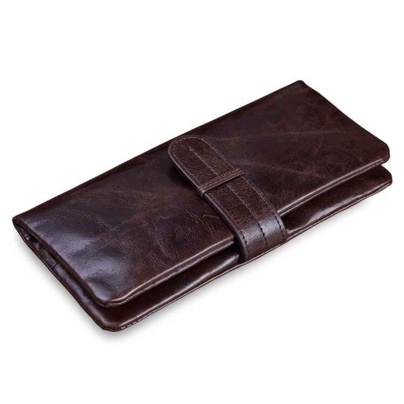 Credit Card Holder Long Wallet with Zipper Bag Hasp Coin Purse High Quality Genuine Leather Men Clutch Bags 2017 New Arrivals
