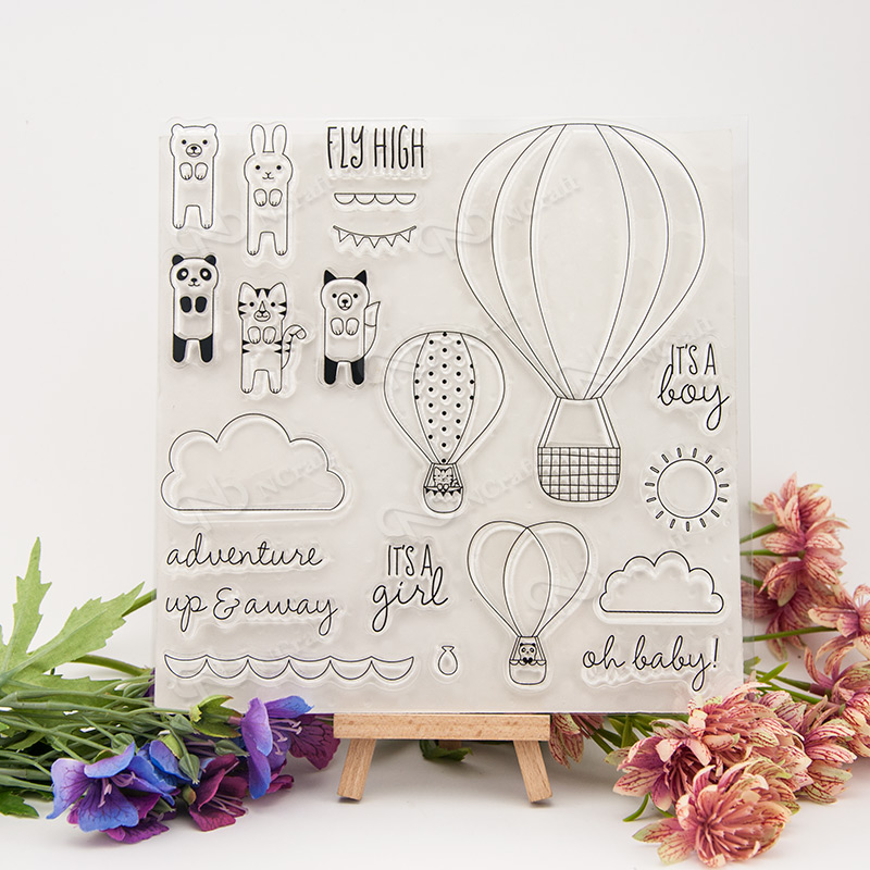 Cartoon hot air balloon Transparent Clear Silicone Stamp/Seal for DIY scrapbooking/photo album Decorative clear stamp sheetsA308 lovely animals and ballon design transparent clear silicone stamp for diy scrapbooking photo album clear stamp cl 278