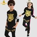 Nueva primavera otoño ropa de niños establece la muchacha del muchacho hiphop marca deportiva de algodón conjuntos de ropa de moda juegos de los niños juegos de los cabritos