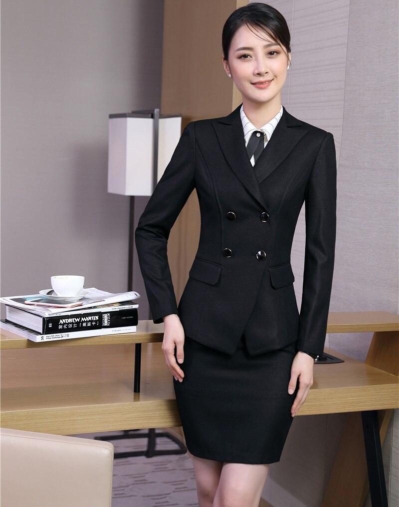 Fiber Ensembles Wear Et Styles Noir marine Femmes Costumes Haute Jupe Uniforme Blazer De Dames Bureau Qualité Noir D'affaires Bleu Work Veste 5wxfTq7v6T