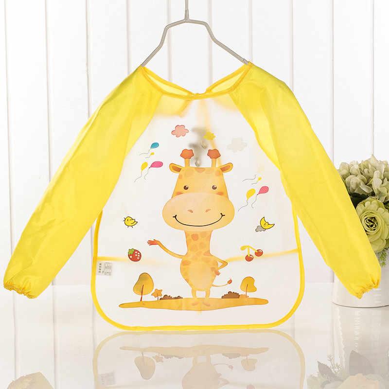 Платье для маленьких детские нагрудники для отрыжек детей мультипликационный рисунок едят кормления ткани водонепроницаемый, с длинными рукавами для новорожденных, нагрудник для новорожденных фартук