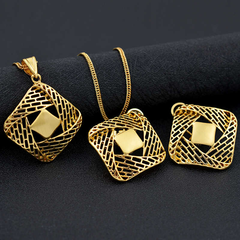 Sunny Jewelry Ethnic Square Jewelry Sets Necklace Earrings Pendant For Party Engagement Cross Jewelry Sets Findings For Women