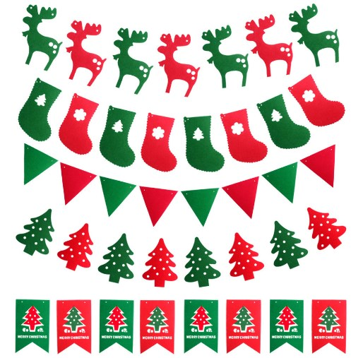 Pretty 5 Designs Merry Christmas Flag Tree Deer Boot Felt handmade Nonwoven Felt Fabric Home Decoration DIY sewing fabric Store