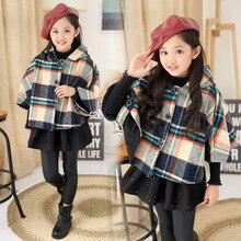New and Fashion Sweet Girl Winter Tartan Cloak Plaid Mantle Kid Clothing