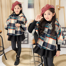 New and Fashion Sweet Girl Winter Tartan Cloak Plaid Mantle Kid Clothing