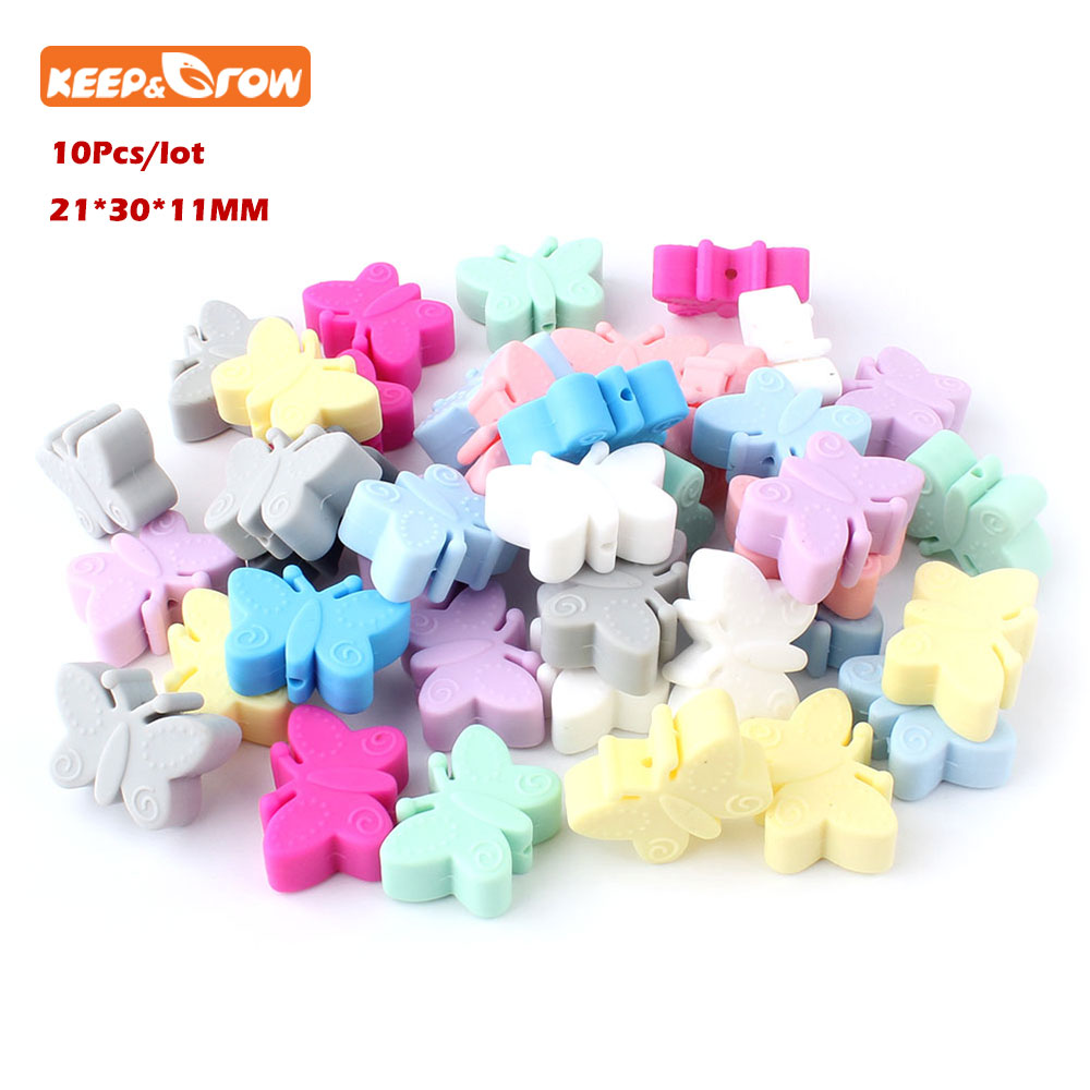 Keep&grow 10Pcs Silicone Beads Butterfly Teething Beads For Jewelry DIY Making Bead BPA Free Silicone Baby Teething Necklace Toy