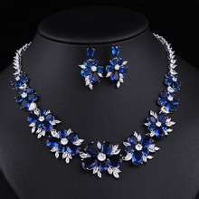 Wedding accessories bridesmaid jewelry sets of chains luxury suits millions copper alloy bride sets
