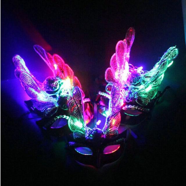 2018 Licht Knipperende LED Eagle Maskerade Carnaval Venetiaanse Bal ...