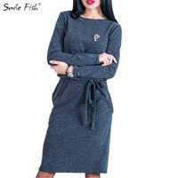 Winter Warm Women Midi Dress Slim Spring 2018 Long Sleeve Loose Knee Length Casual Female Dresses Mujer LX364
