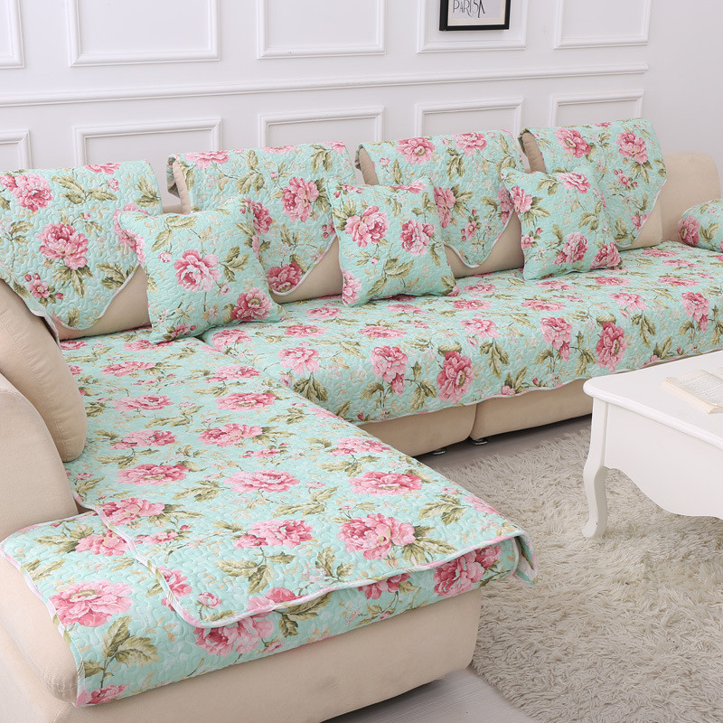100 Cotton Corner Blanket Printed Funda Sofa Cover Past Fl Cape Quilting Fabric Sectional Slipcover In From Home