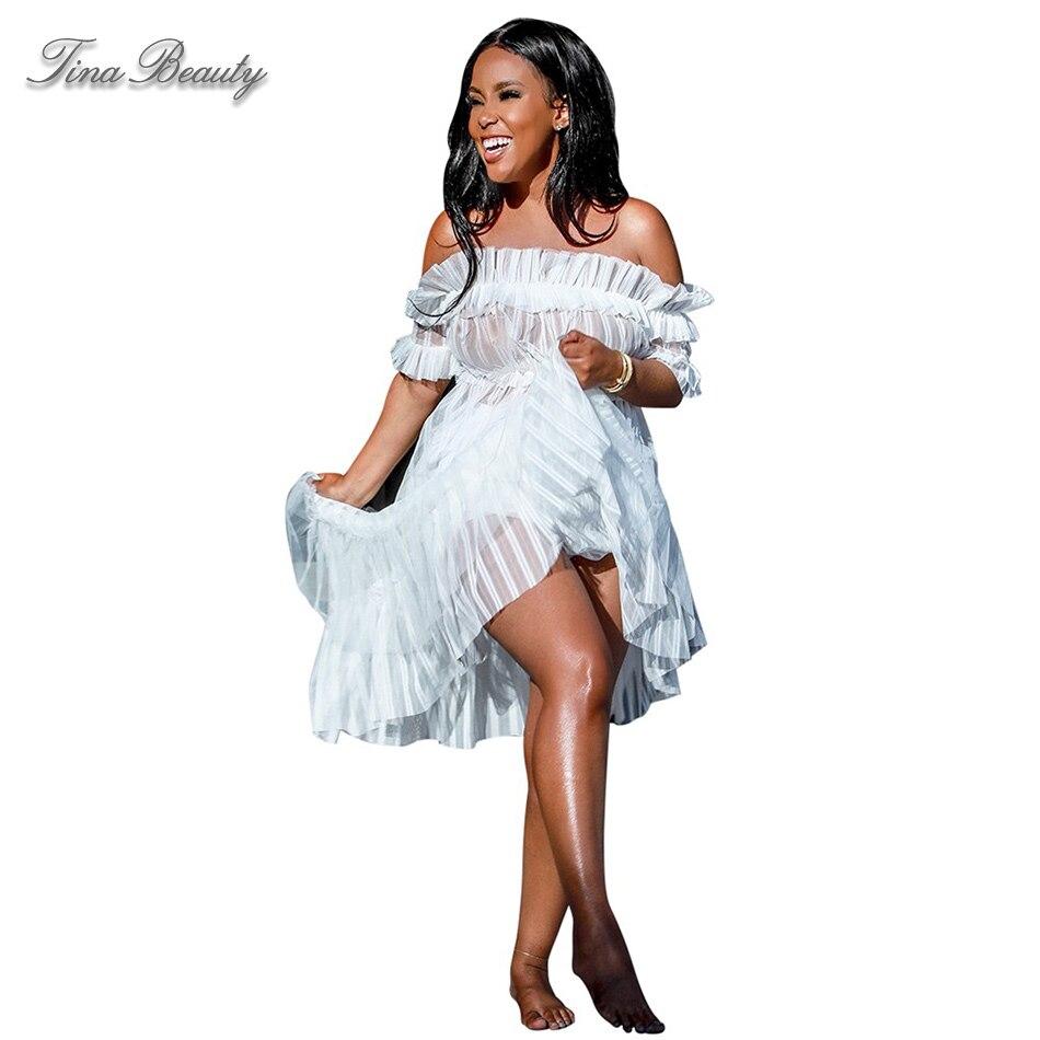 Tina beauté blanc épaule dénudée manches courtes Maxi dentelle mode moulante robe femme Slash cou voir à travers de longues robes transparentes