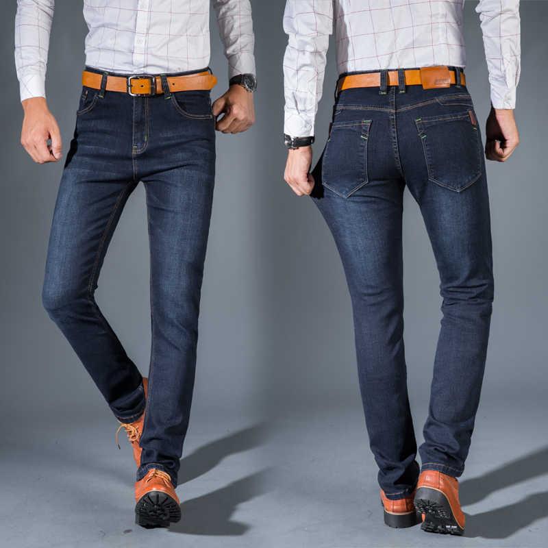 1573fe04b3d ... Мужские классические джинсы бренд большой Размеры прямые мужские джинсы  тонкий Проблемные дизайн Байкер брюки подходят дешевые ...